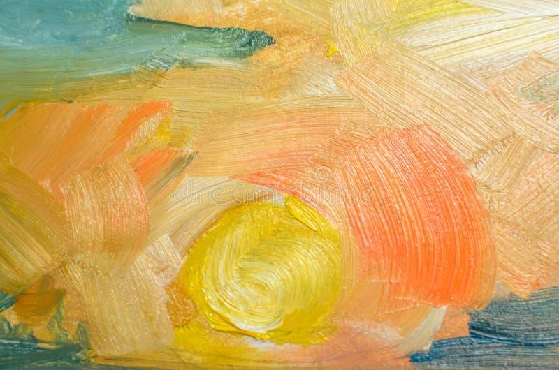 Farbige Ölanschläge auf Segeltuch mit einer Bürste, abstrakte Linien stockbild