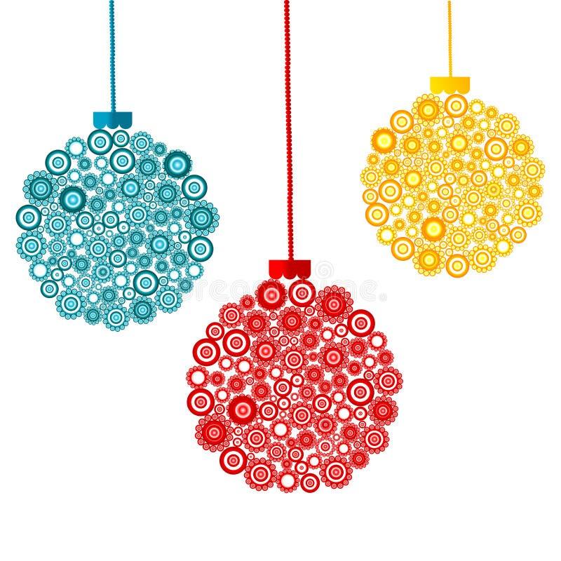 Farbige abstrakte Weihnachtskugeln vektor abbildung