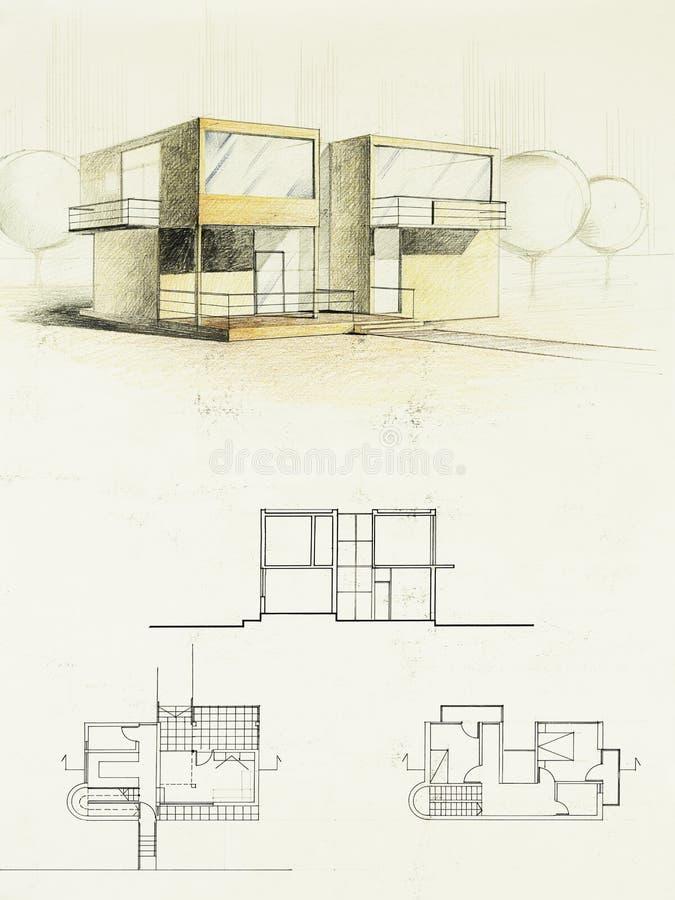 Download Farbige Architekturskizze Eines Modernen Hauses Stock Abbildung    Illustration Von Fassade, Glas: 24455281