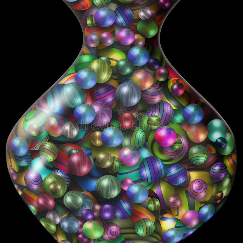 Farbige Bälle im Glasvase lizenzfreie abbildung