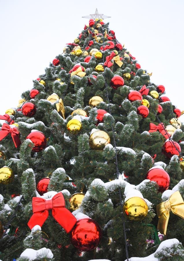 Farbige Bälle und rote Bögen auf Weihnachtsbaum stockbilder