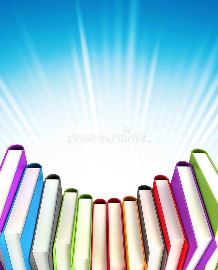 Farbige Bücher auf Hintergrund stock abbildung