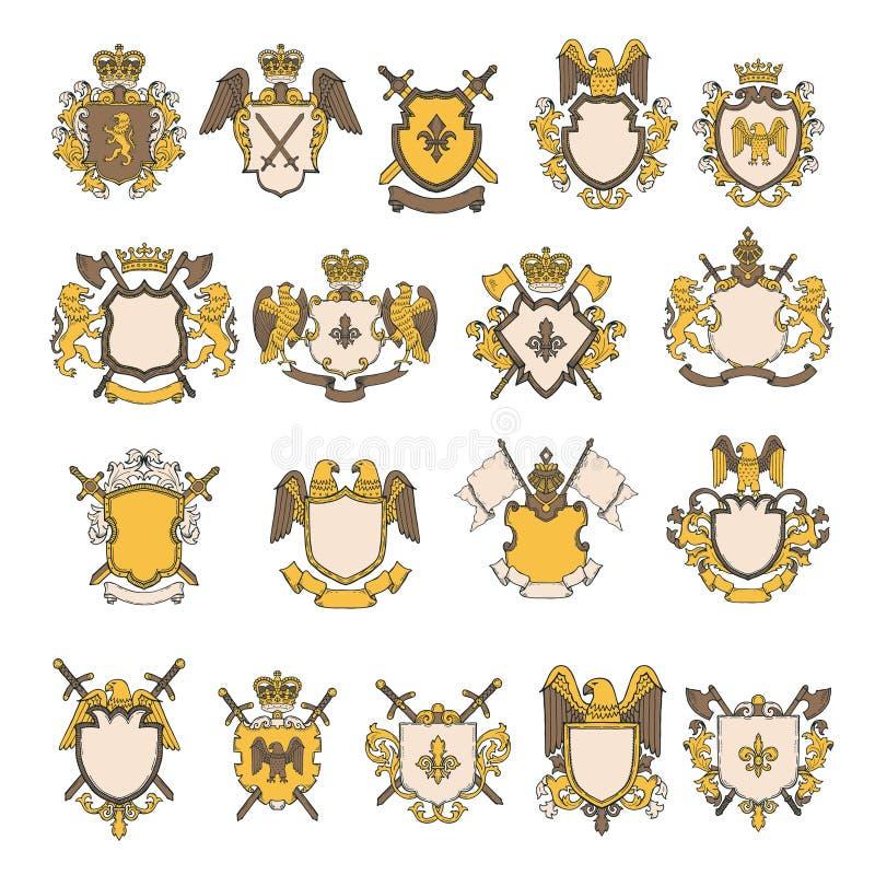 Farbige Bilder eingestellt von den heraldischen Elementen lizenzfreie abbildung