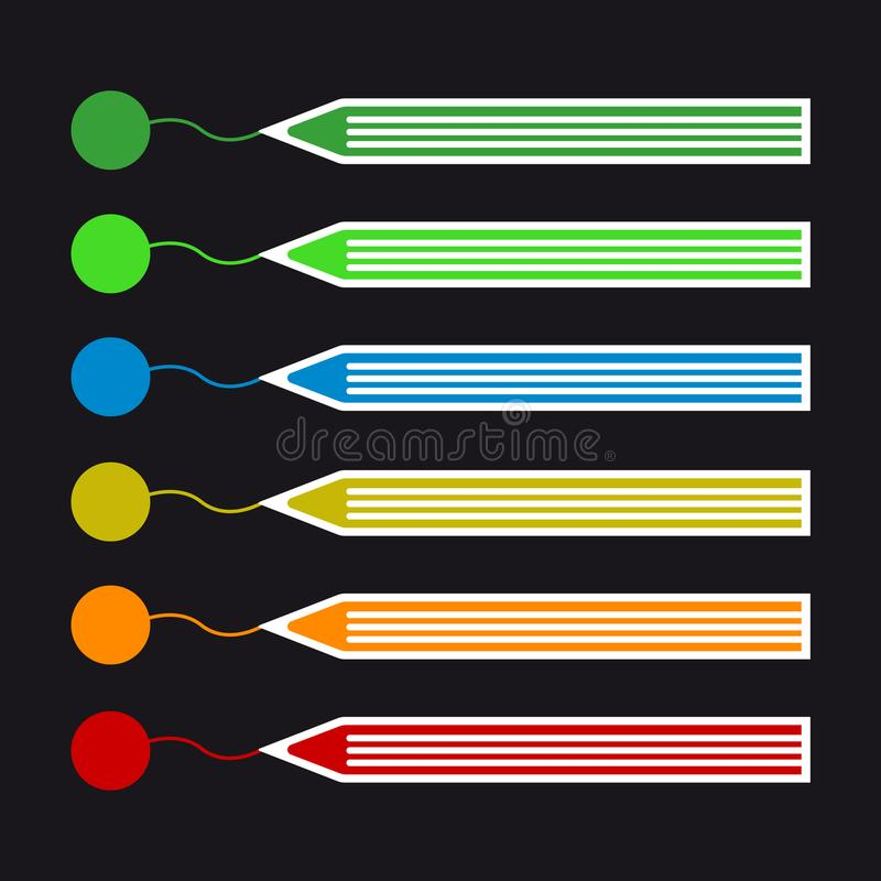 Farbige Bleistift-Zugseile - bunter Vektor-Ikonen-Satz vektor abbildung