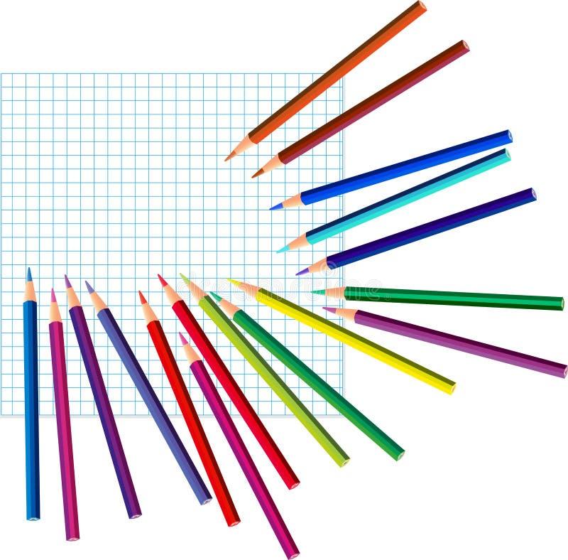 Farbige Bleistifte auf einem quadrierten Papier stock abbildung