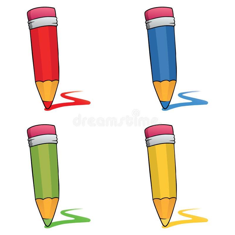 Farbige Bleistifte eingestellt lizenzfreie abbildung