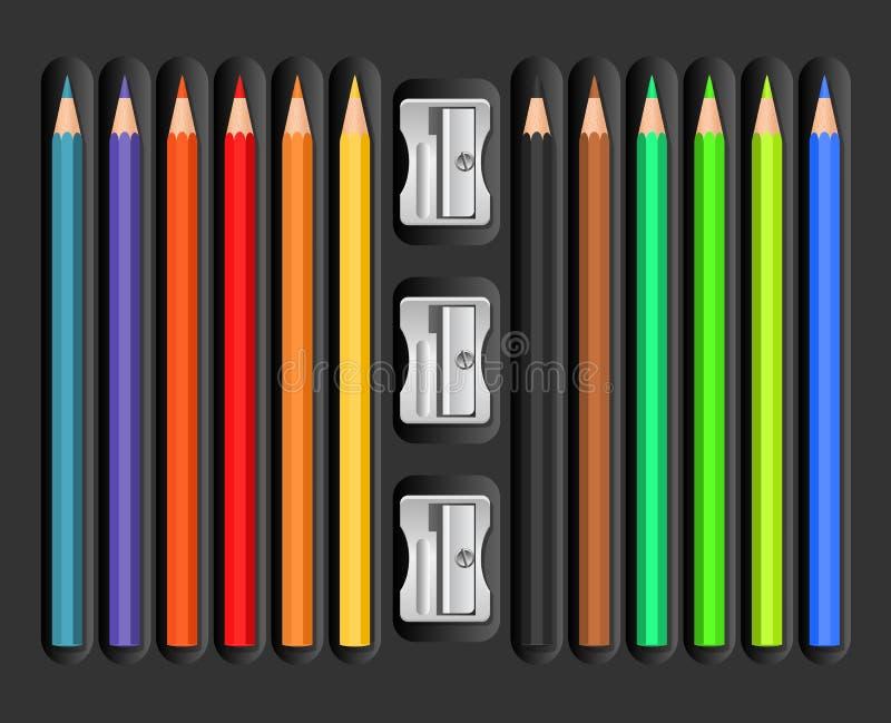 Farbige Bleistifte eingestellt mit Bleistiftspitzern vektor abbildung