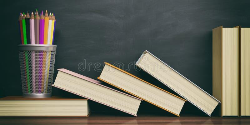 Farbige Bleistifte und Bücher auf einem Tafelhintergrund Abbildung 3D lizenzfreie abbildung