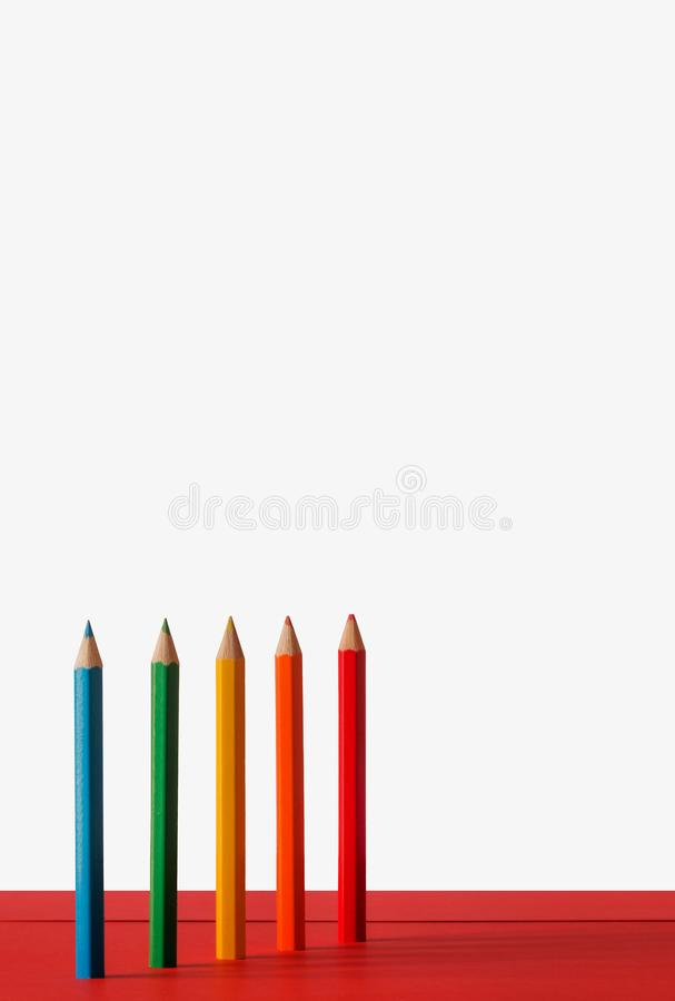 Farbige Bleistiftzusammensetzung stockbilder
