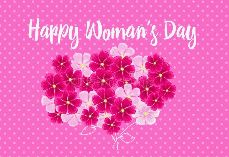 Farbige Blumen auf dem rosa Hintergrund Farbige Vektorillustrationen lizenzfreie abbildung