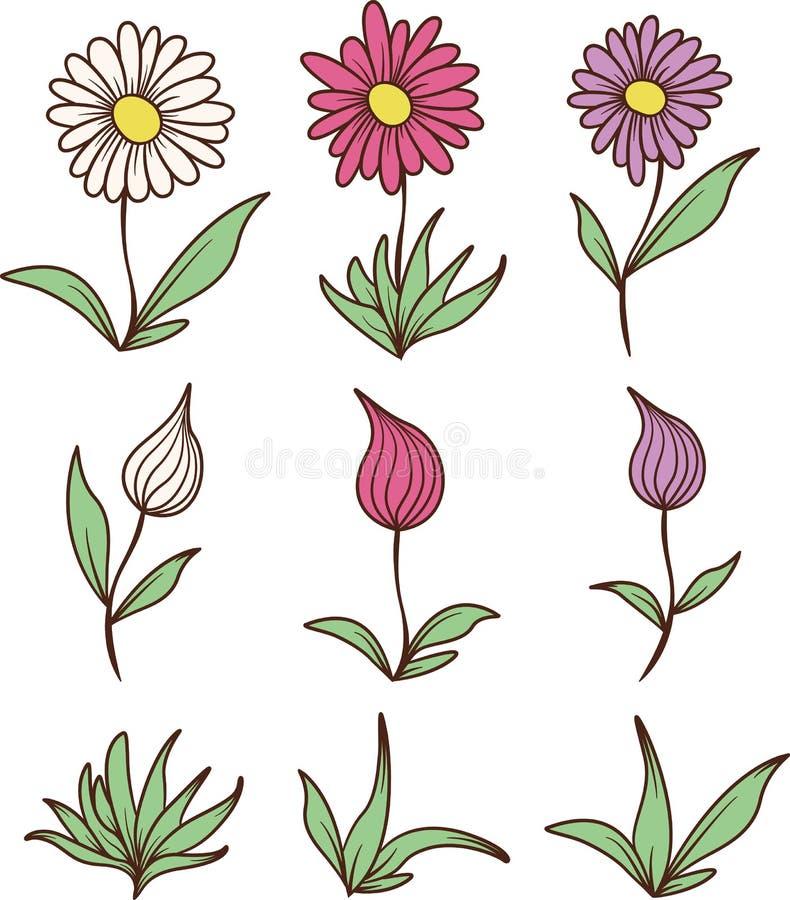 Farbige Blumen und Blätter lizenzfreies stockfoto