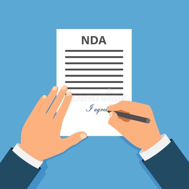 Farbige Cartooned-Hand, die NDA unterzeichnet Vertrag unterzeichnetes Dokument NDA-Konzept Geheime Dateien stock abbildung