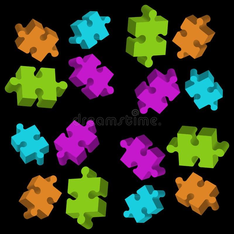 Farbige Elemente des Puzzlespiels 3D auf schwarzem Hintergrund lizenzfreie abbildung