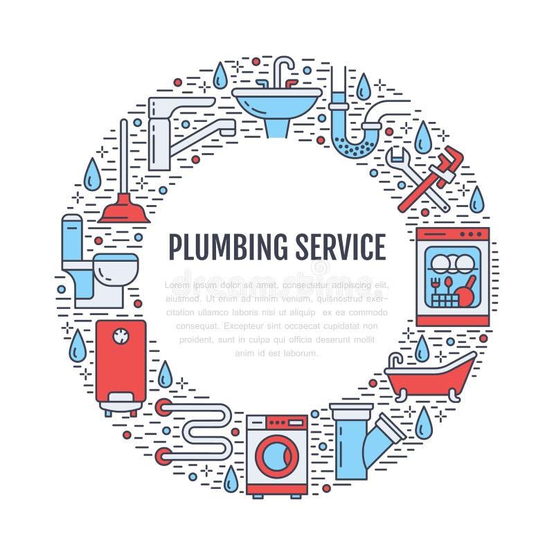 Farbige Fahnenillustration der Klempnerarbeit Service Vector Linie Ikone der Hausbadezimmerausrüstung, Hahn, Toilette, Rohrleitun stock abbildung