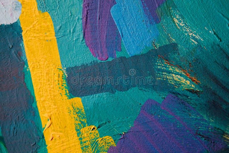 Farbige Farbenanschläge Hintergrund der abstrakten Kunst Detail eines Kunstwerks Zeitgenössische Kunst Bunte Beschaffenheit stark lizenzfreie stockfotos