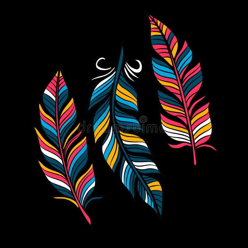 Farbige Federn in einer flachen Art Lokalisiert auf einem schwarzen Hintergrund vektor abbildung