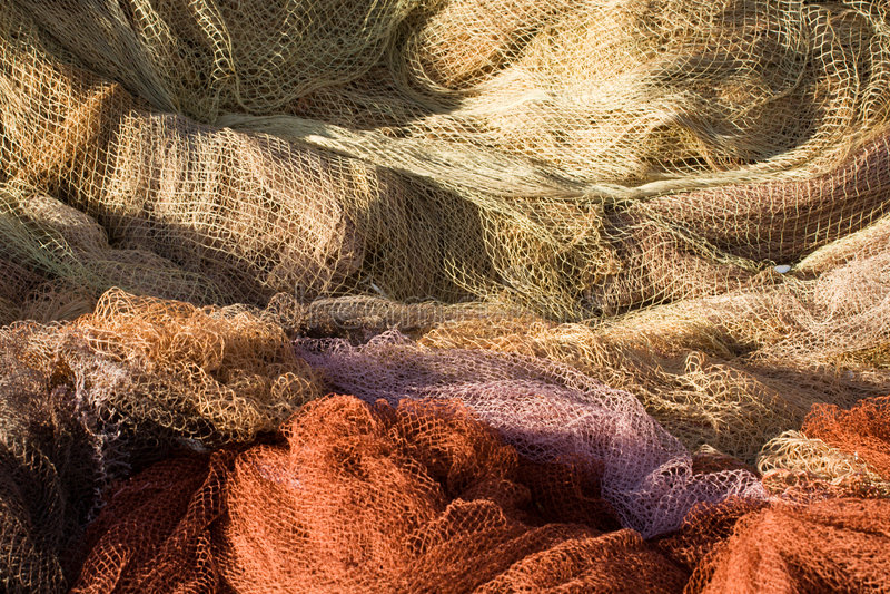 Farbige Fischernetze lizenzfreie stockfotos