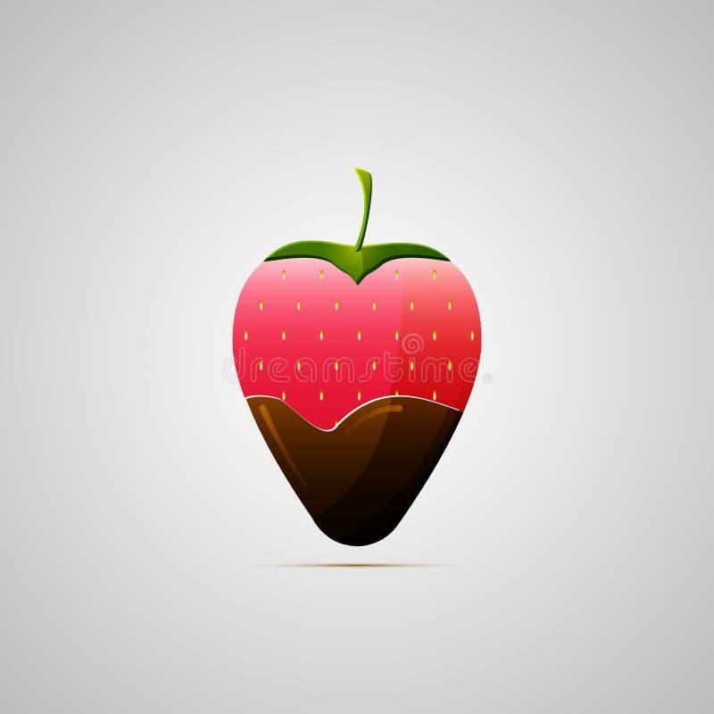 Farbige flache Ikone, Vektordesign mit Schatten Erdbeere mit Schokolade Illustration des Lebensmittels, Nachtisch, Beeren vektor abbildung