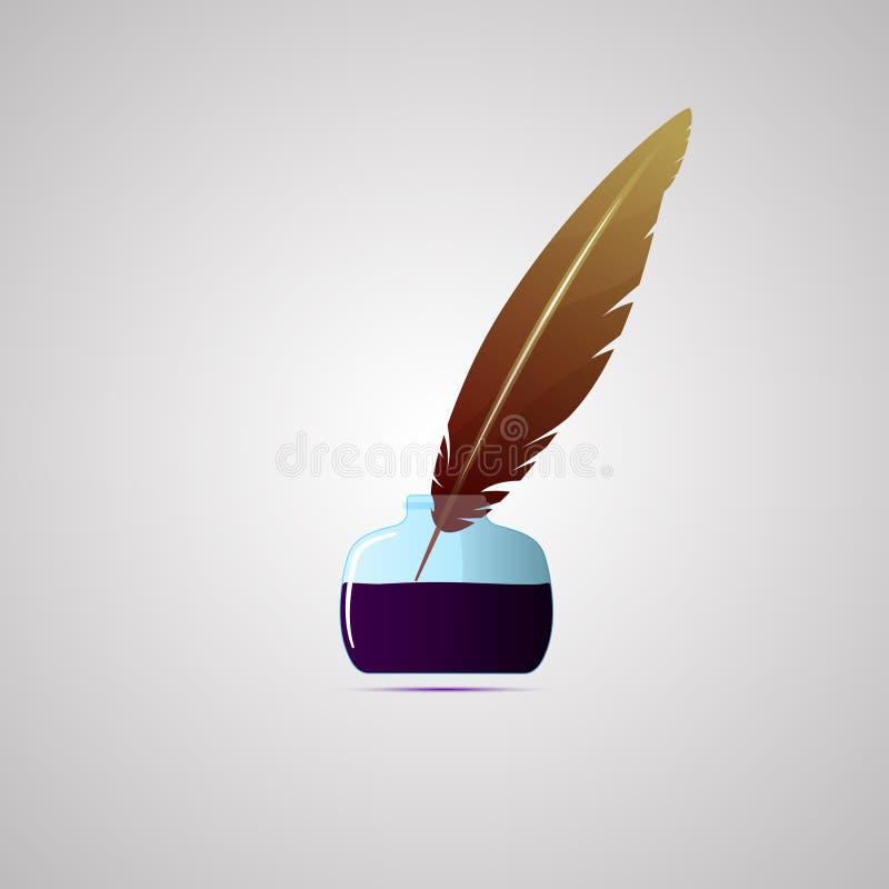 Farbige flache Ikone, Vektordesign mit Schatten Satz des Tintenfasses und des Stiftes vektor abbildung