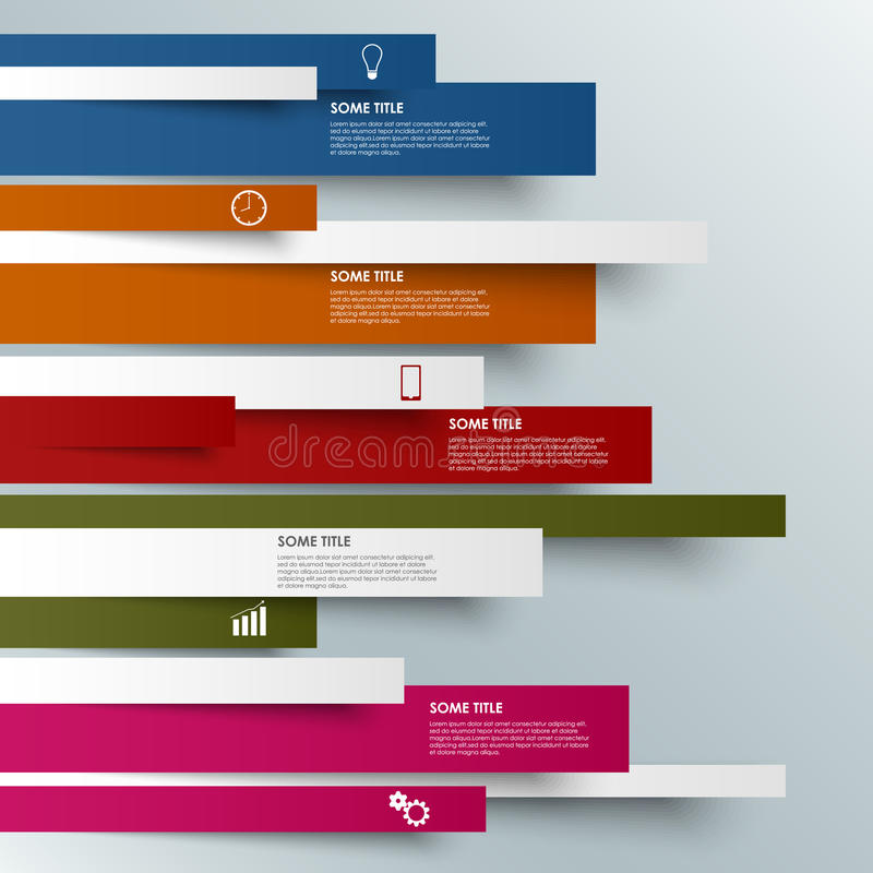 Farbige gestreifte moderne Schablone der Informationen Grafik stock abbildung