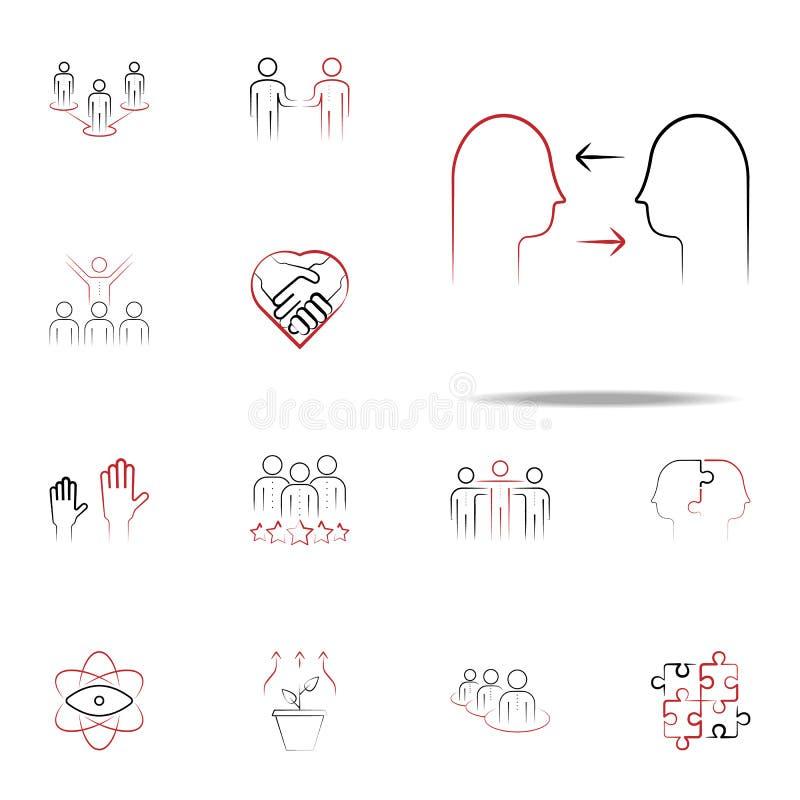 farbige gezogene Ikone des Konflikts Management Hand Teamikonen-Universalsatz für Netz und Mobile lizenzfreie abbildung