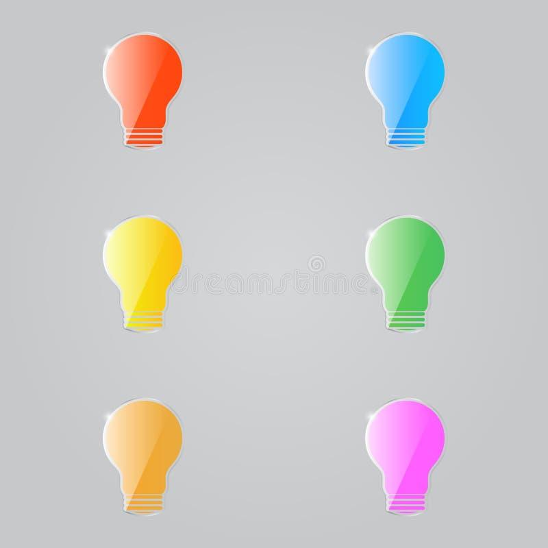 Farbige glänzende elektrische Lampen auf einem grauen Hintergrund stock abbildung