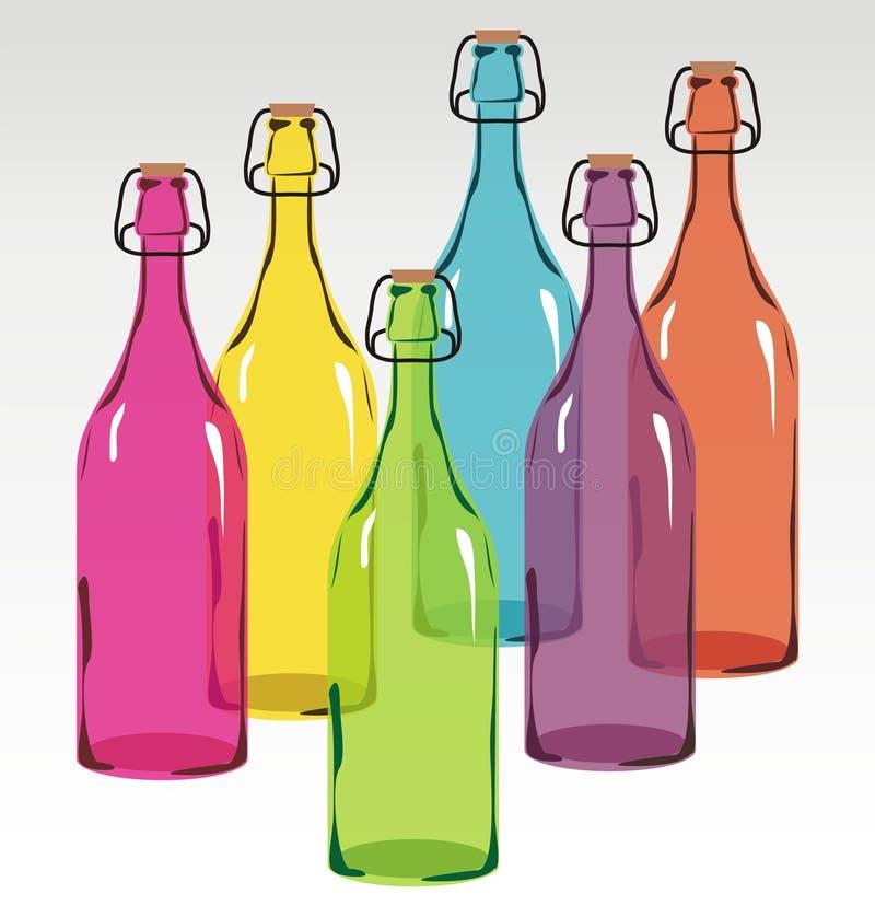 Farbige Glasflaschen vektor abbildung