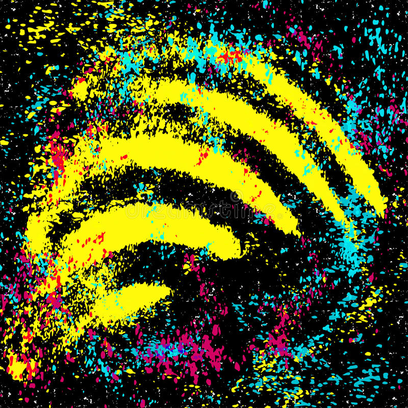 Farbige Graffiti beflecken auf einer schwarzen Hintergrundschmutzbeschaffenheit lizenzfreie abbildung