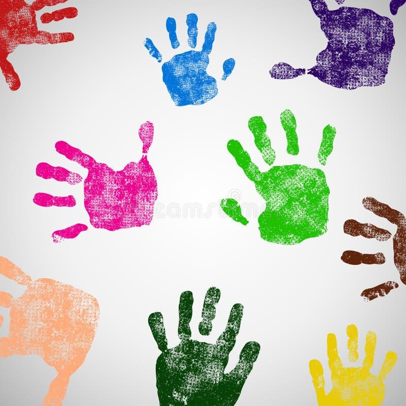 Farbige Handdruckikone. stock abbildung