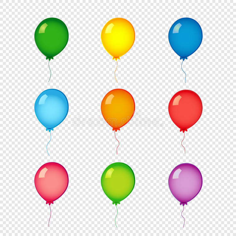 Farbige Heliumballone auf transparentem Hintergrund vektor abbildung