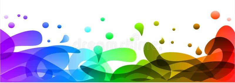 Farbige Hintergrundentwurfsillustration, buntes Fahnenspritzen des Sommers und Wellen in der abstrakten Form des Wassers – Vektor stock abbildung