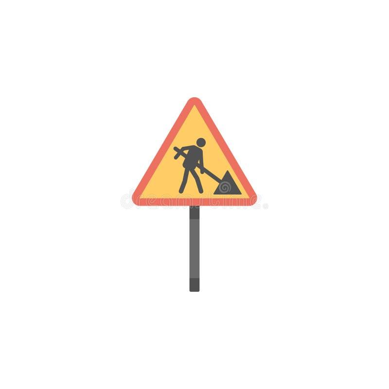 Farbige Ikone der Straßenarbeiten Zeichen Element der Verkehrsschild- und Kreuzungsikone für bewegliche Konzept und Netz apps Far stock abbildung