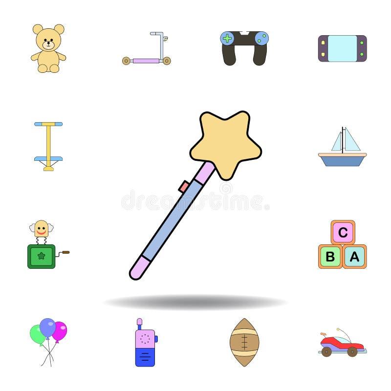 Farbige Ikone des Karikaturgeklapper-Sternes Spielzeug stellen Sie von den Kinderspielwaren-Illustrationsikonen ein Zeichen, Symb stock abbildung