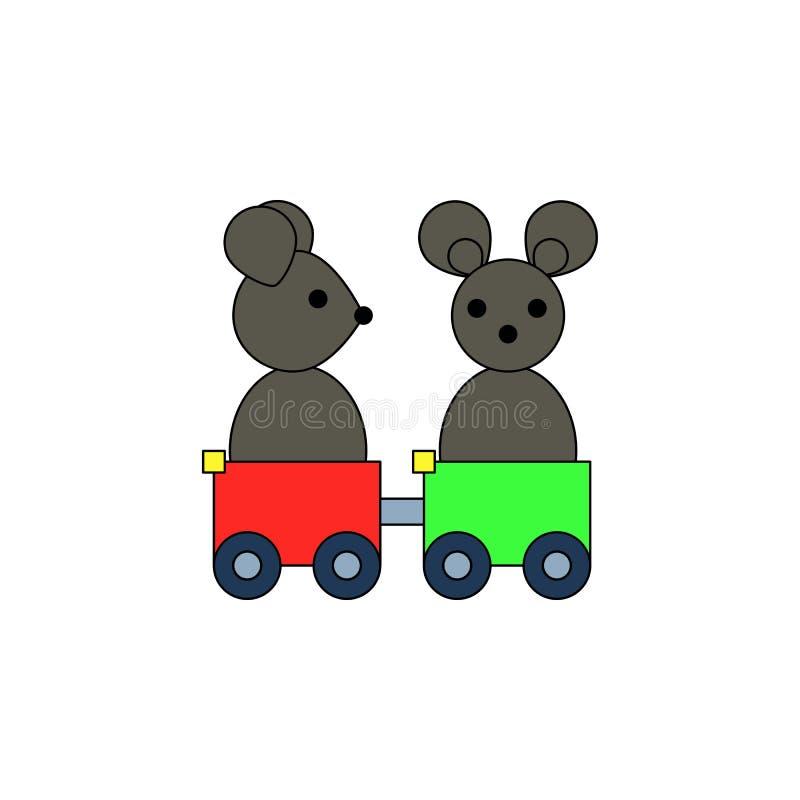 Farbige Ikone des Karikaturmäusezugs Spielzeug Zeichen und Symbole können für Netz, Logo, mobiler App, UI, UX verwendet werden vektor abbildung