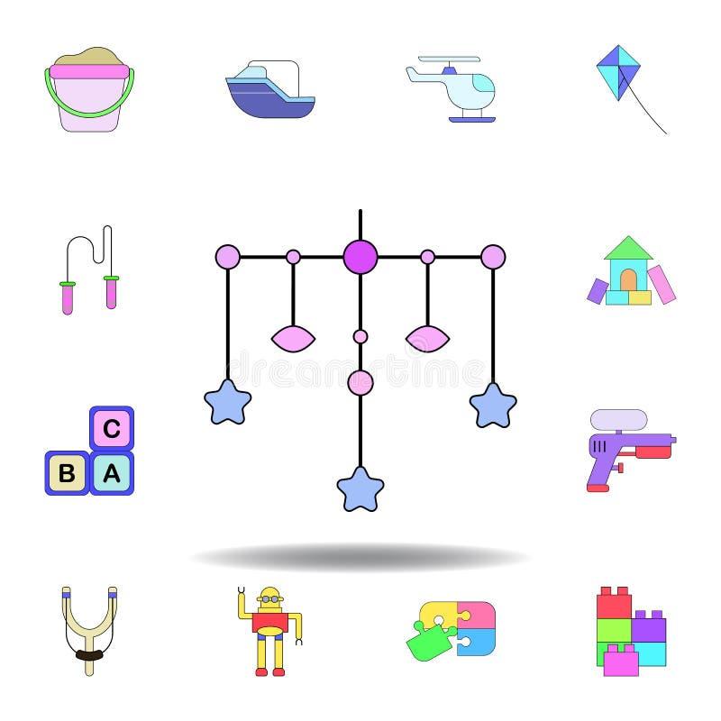 Farbige Ikone des Karikaturschwingen-Kleinkindes Spielzeug stellen Sie von den Kinderspielwaren-Illustrationsikonen ein Zeichen,  stock abbildung
