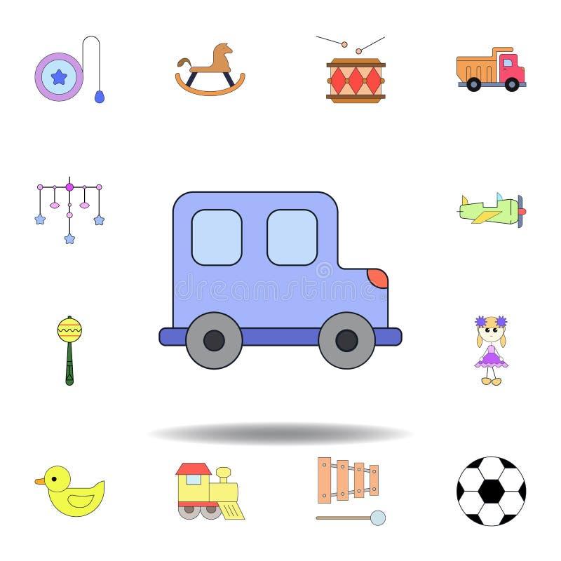 Farbige Ikone des Karikaturspielzeugs Auto stellen Sie von den Kinderspielwaren-Illustrationsikonen ein Zeichen, Symbole können f stock abbildung