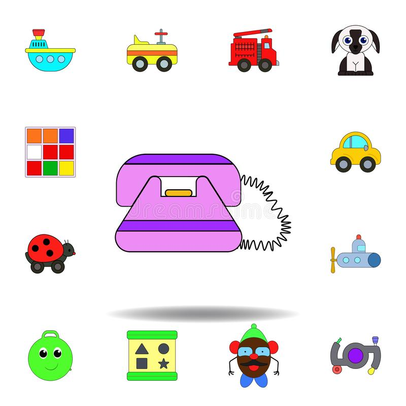 Farbige Ikone des Karikaturtelefons Spielzeug stellen Sie von den Kinderspielwaren-Illustrationsikonen ein Zeichen, Symbole könne stock abbildung