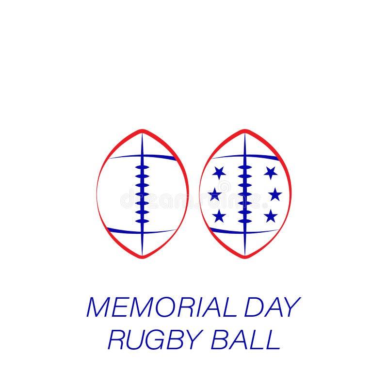 Farbige Ikone des Volkstrauertags Rugbyball Element der Volkstrauertagillustrationsikone Zeichen und Symbole können für Netz, Log stock abbildung