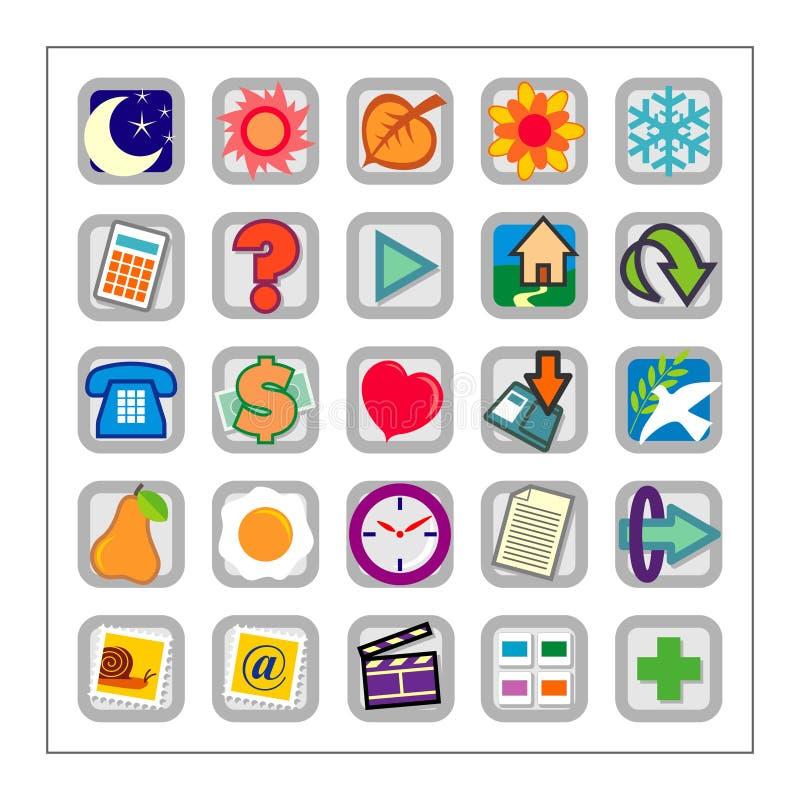 Farbige Ikone stellte 1 - Version2 lizenzfreie abbildung