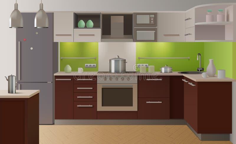 Farbige Küche Innen vektor abbildung. Illustration von haushalt ...