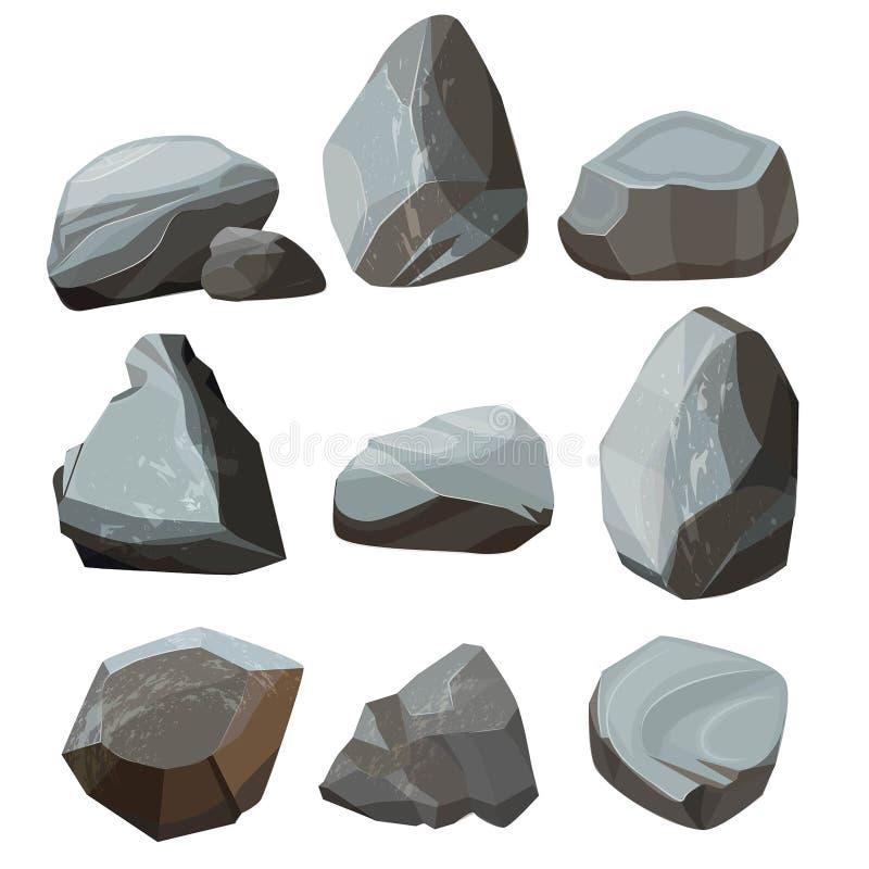 Farbige Karikatursteine Großer und kleiner felsiger Kies- und Flusssteinvektor des Granits färbte Bilder lizenzfreie abbildung