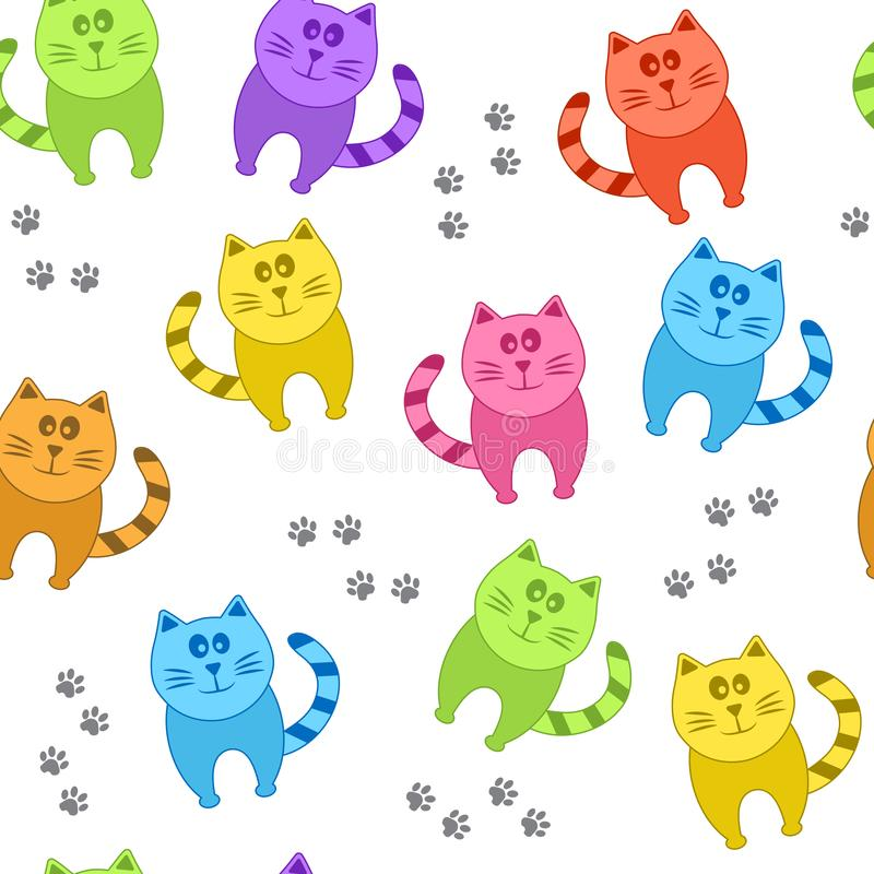 Farbige Katzen und Pfotenabdrücke, nahtloses Muster, Vektor stock abbildung