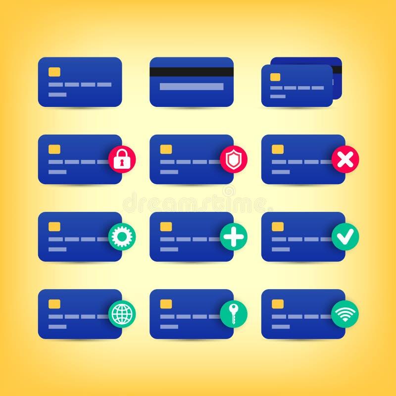 Farbige Kreditkarteikonen lizenzfreie abbildung