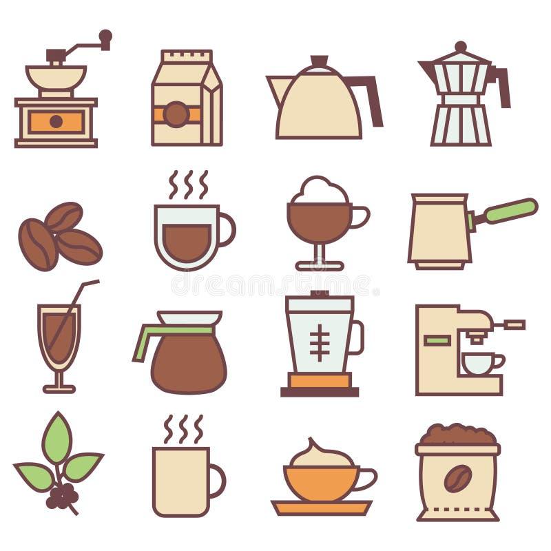 Farbige lineare Ikonensammlung des Kaffees Flache Ikonen des Kaffees eingestellt lizenzfreie stockfotografie