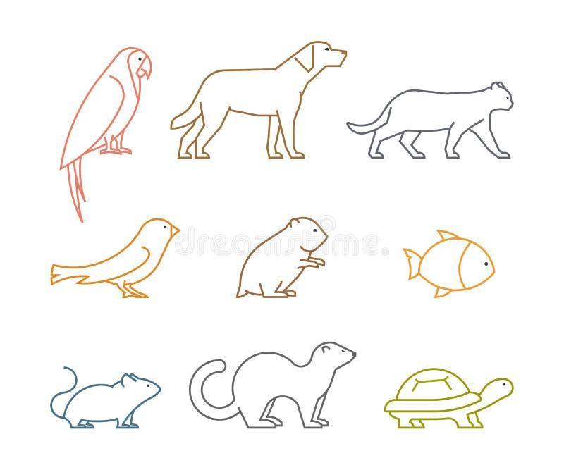 Farbige Linie Gruppe von Haustieren Silhouettiert Tiere stock abbildung