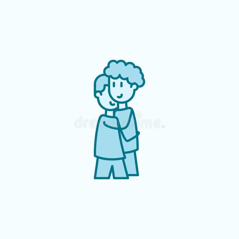 farbige Linie Ikone der Freunde 2 Einfache Illustration des farbigen Elements Freunde umreißen Symbolentwurf vom Freundschaftssat stock abbildung