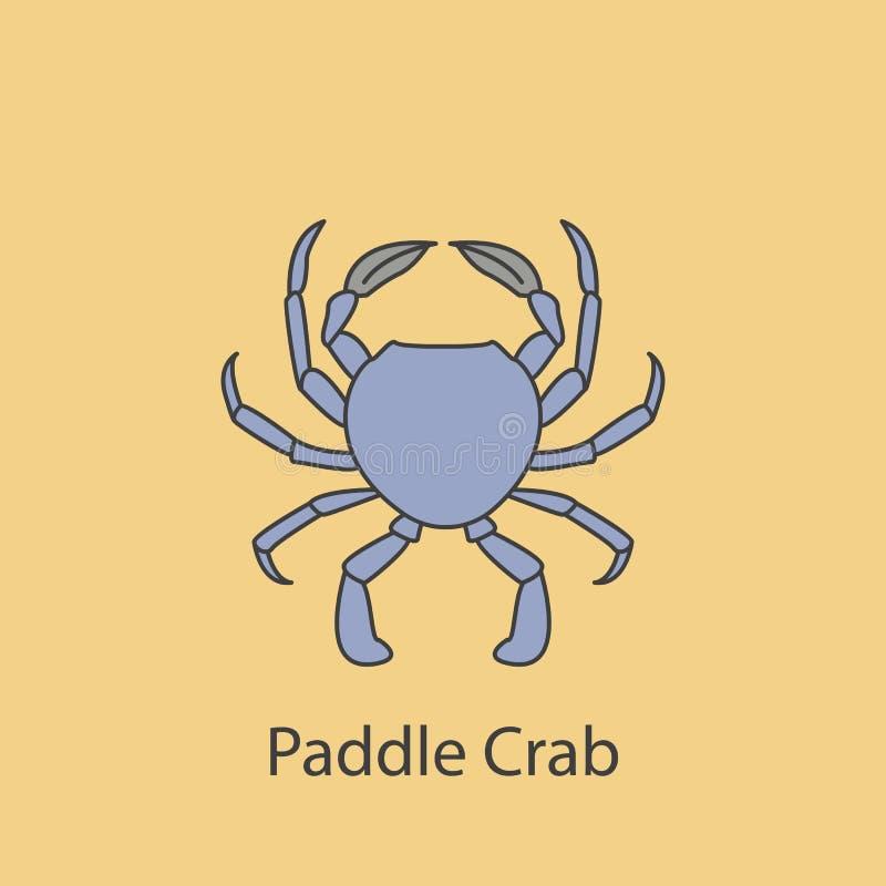 farbige Linie Ikone der Paddelkrabbe 2 Einfache purpurrote und graue Elementillustration Paddelkrabbenkonzeptentwurfs-Symboldesig lizenzfreie abbildung
