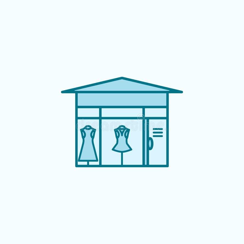farbige Linie Ikone des FrauenBekleidungsgeschäftes 2 Einfache Illustration des farbigen Elements FrauenBekleidungsgeschäft-Entwu lizenzfreie abbildung
