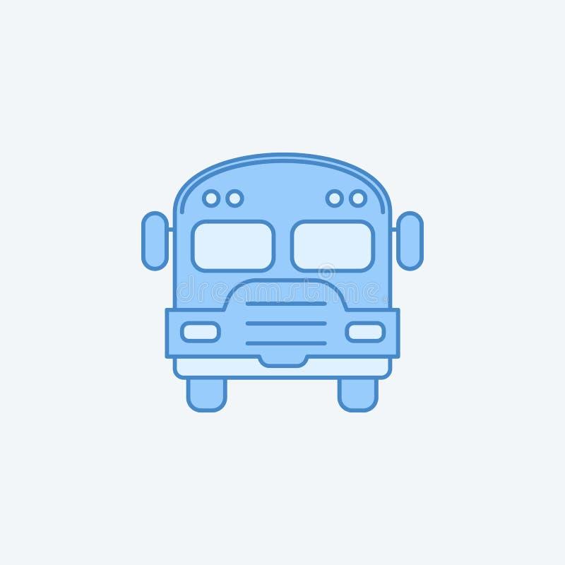 farbige Linie Ikone des Schulbusses 2 Einfache dunkle und hellblaue Elementillustration Schulbuskonzeptentwurfs-Symboldesign vom  stock abbildung