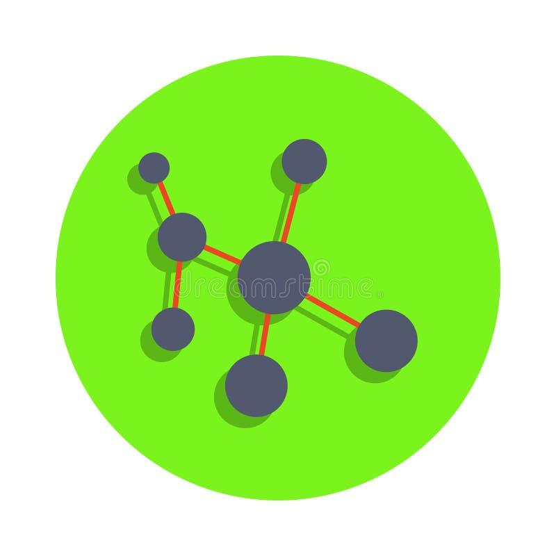 farbige molekulare Bindung in der grünen Ausweisikone Element der Wissenschaft und des Labors für bewegliche Konzept und Netz app vektor abbildung